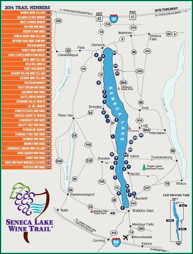 Printable Seneca Lake Wineries And Breweries Map