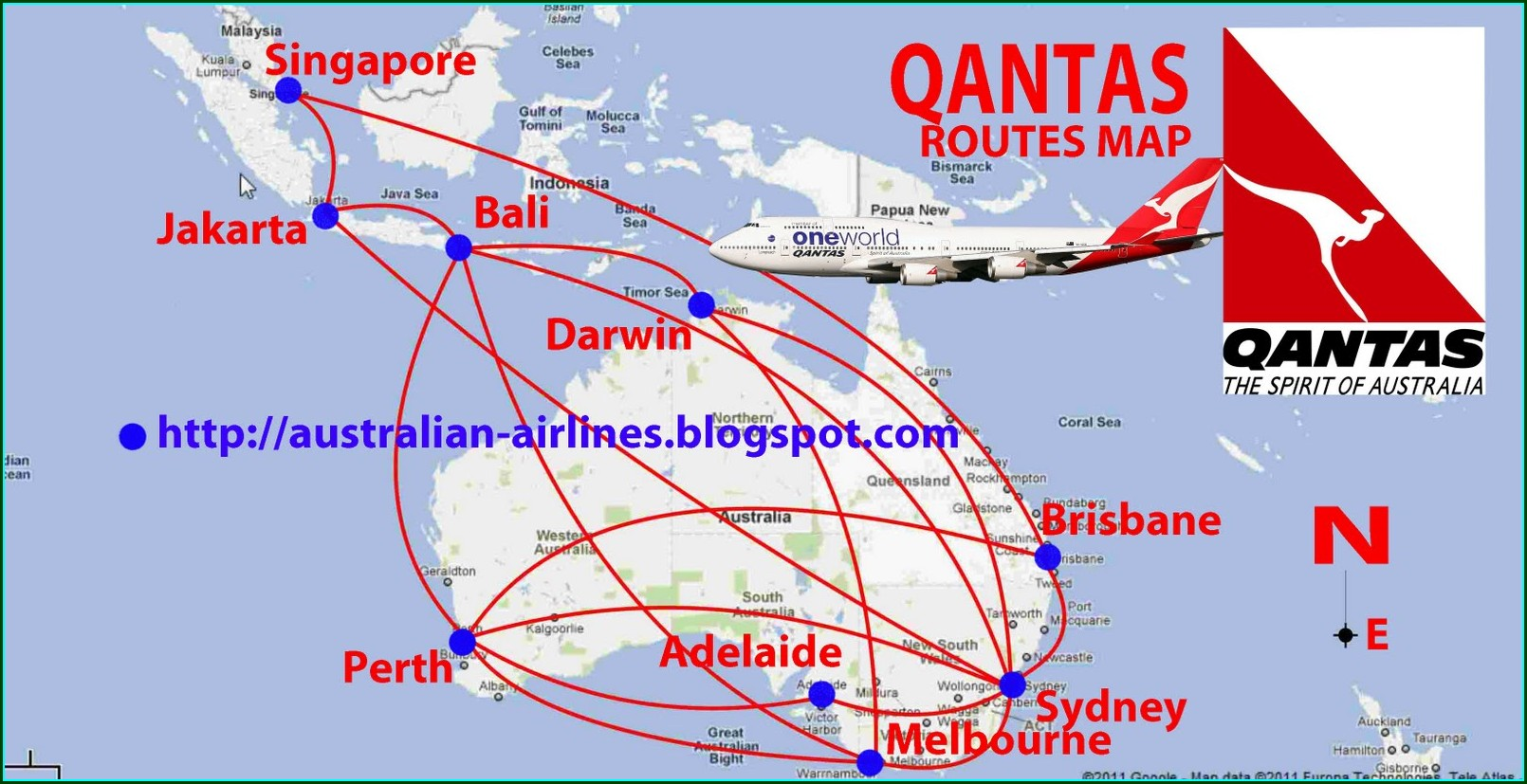 Qantas Australia Flight Map