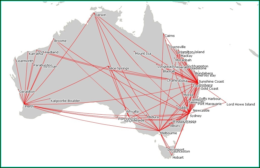 Qantas Domestic Flight Map