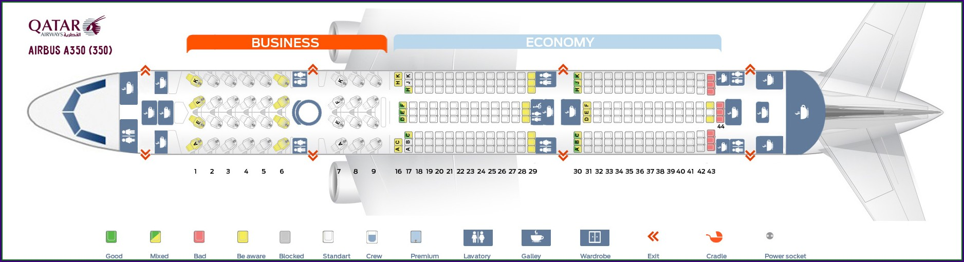 Qatar Airbus Industrie A350 900 Seat Map