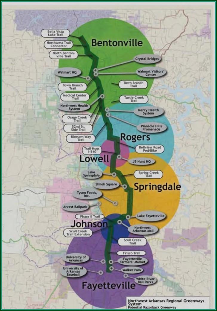 Razorback Greenway Bike Trail Map