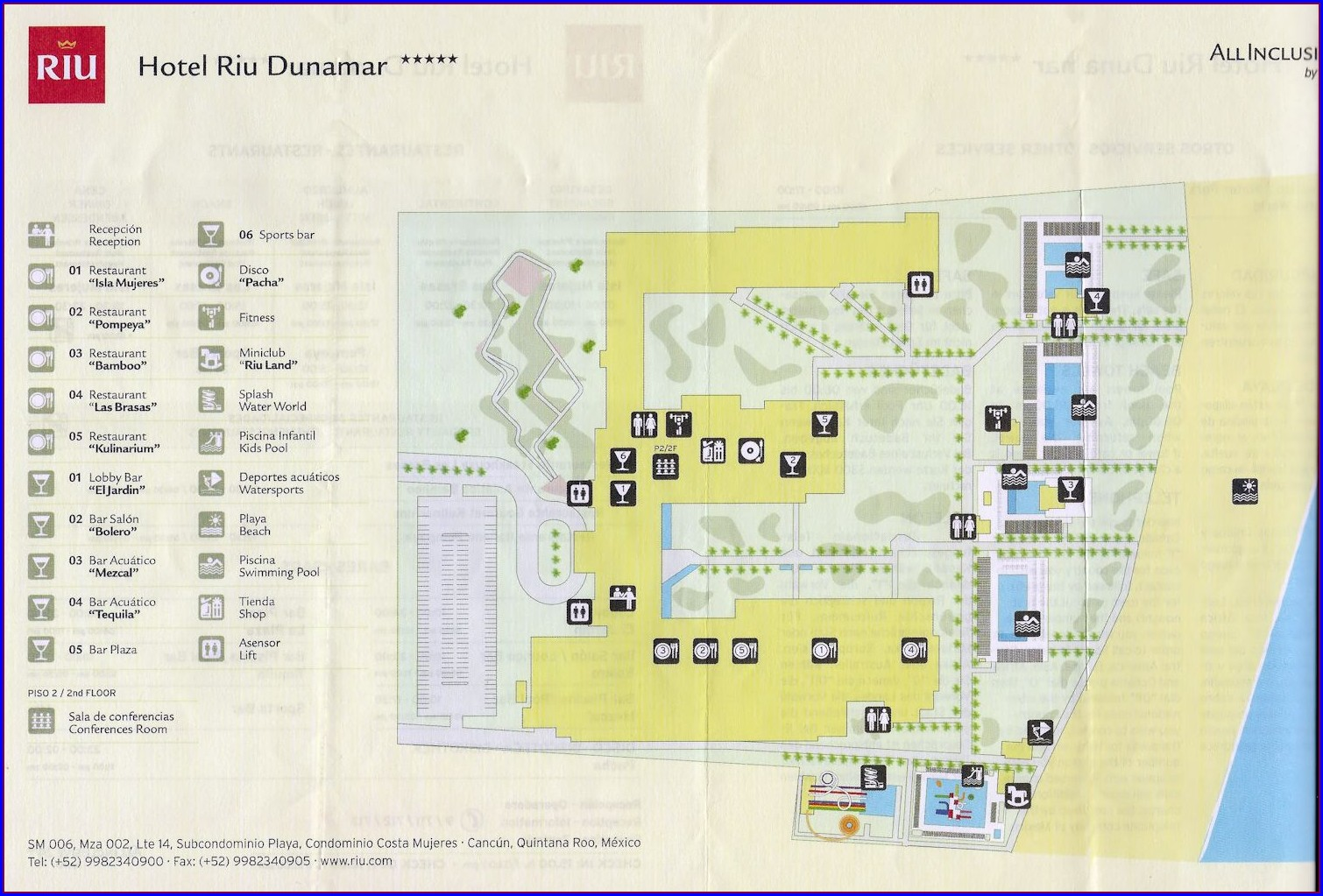 Riu Dunamar Cancun Map