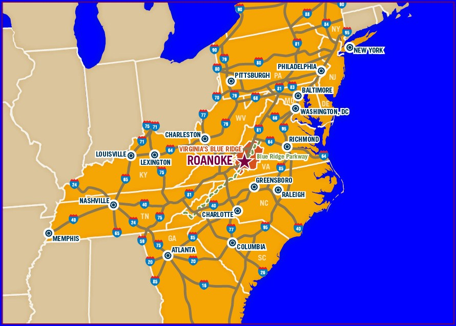 Roanoke Va Map And Surrounding Areas