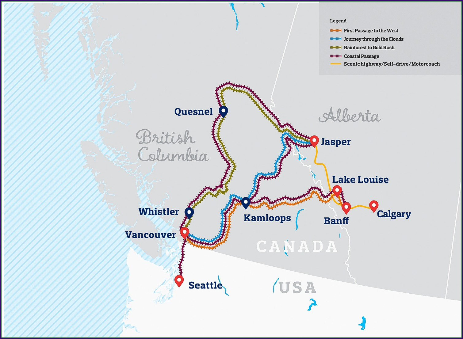 Rocky Mountaineer Detailed Route Map