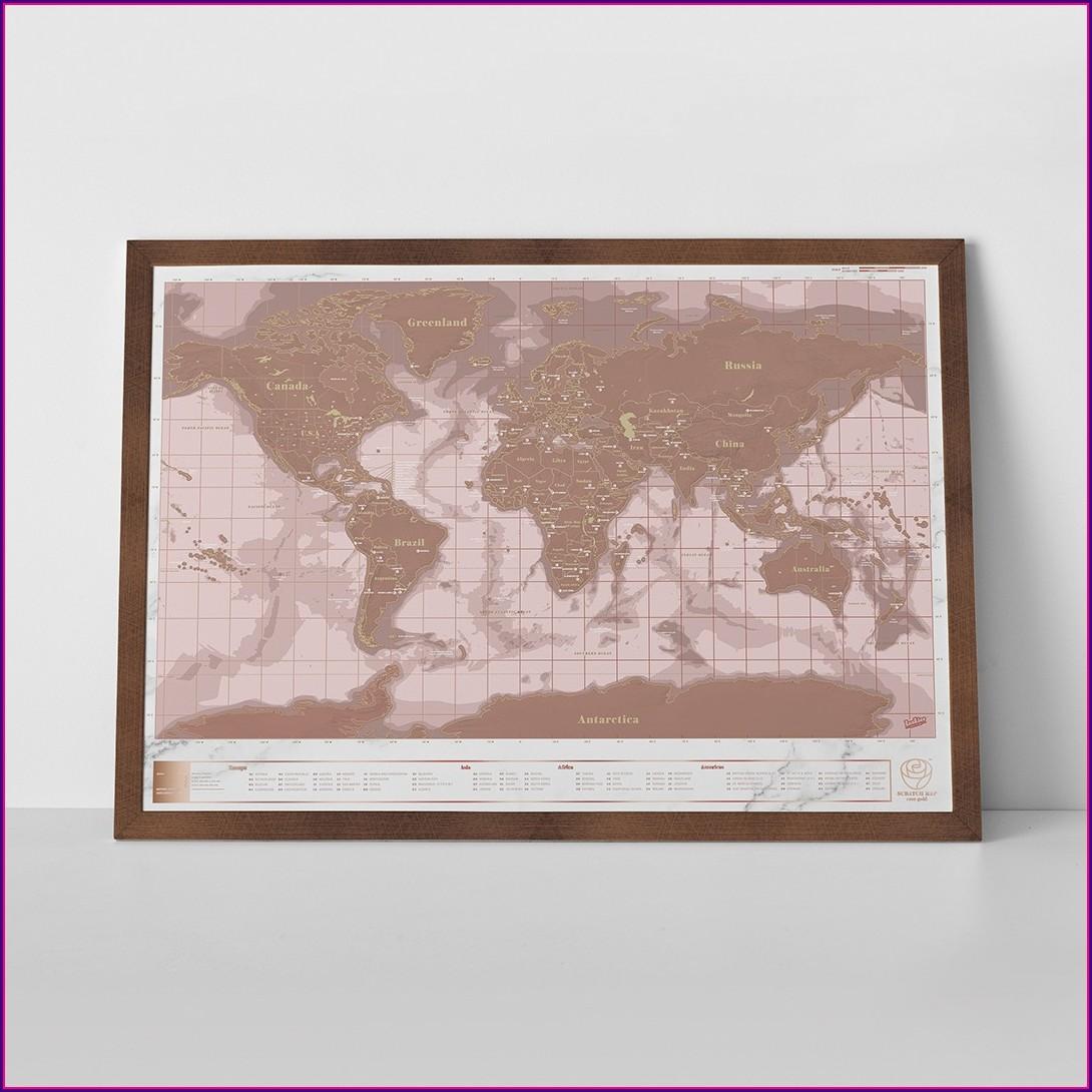 Rose Gold Scratch Map Indigo