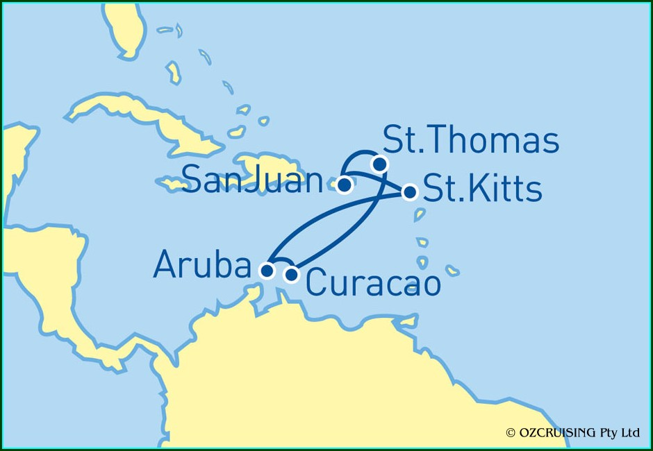 Royal Caribbean Southern Caribbean Cruise Map