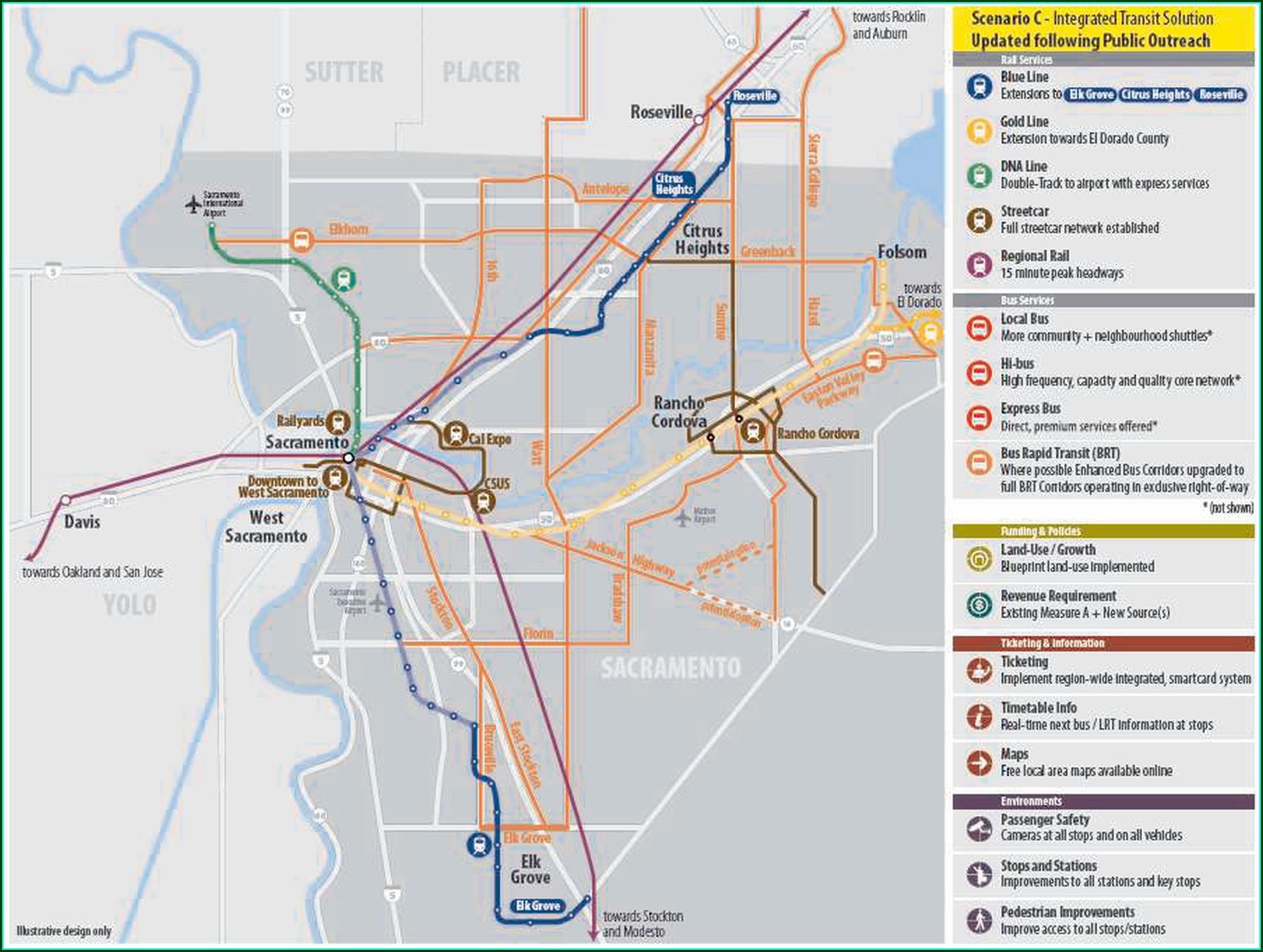 Sacramento Bus Routes Map