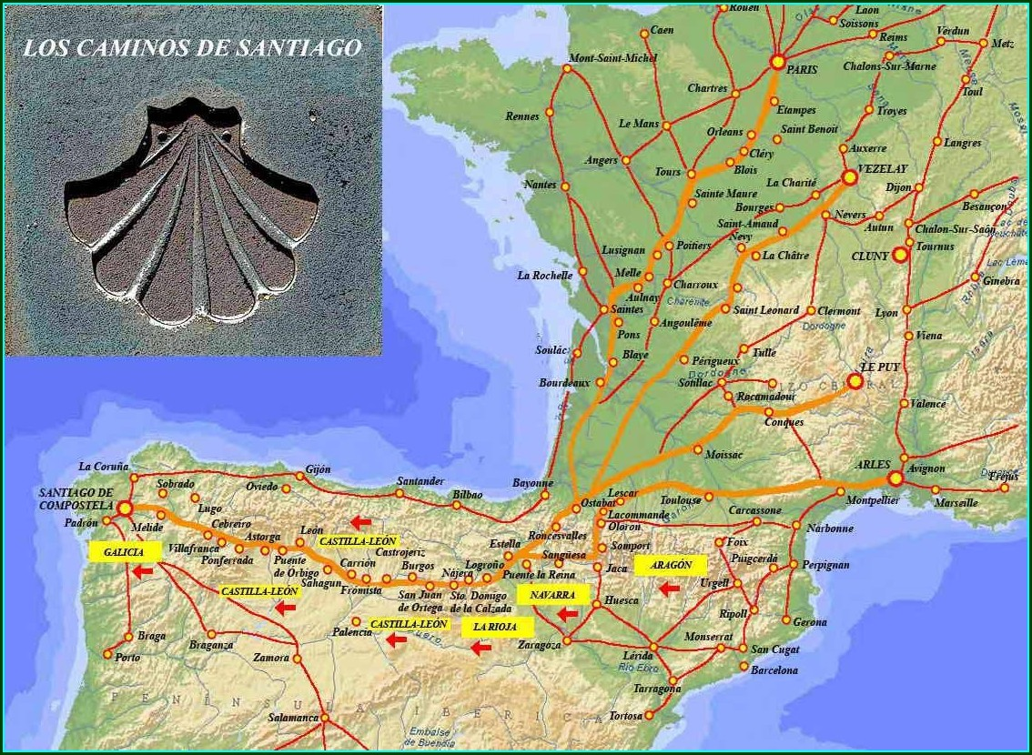 Santiago De Compostela Pilgrimage Map