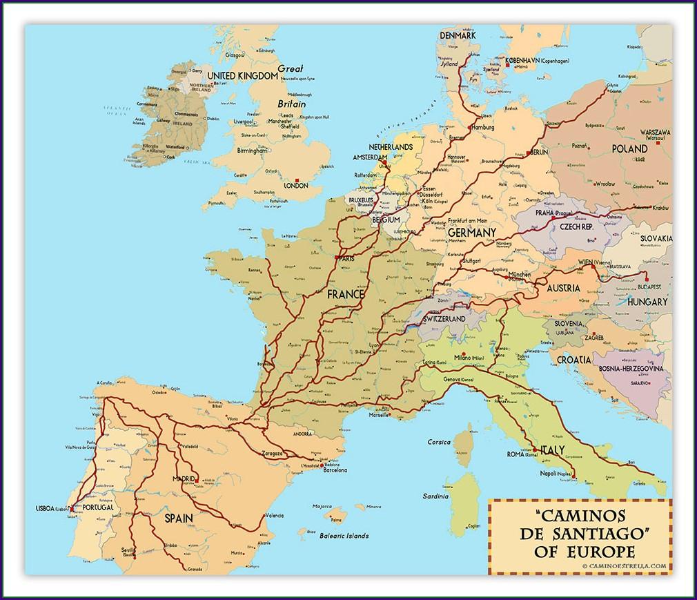 Santiago De Compostela Walk Map