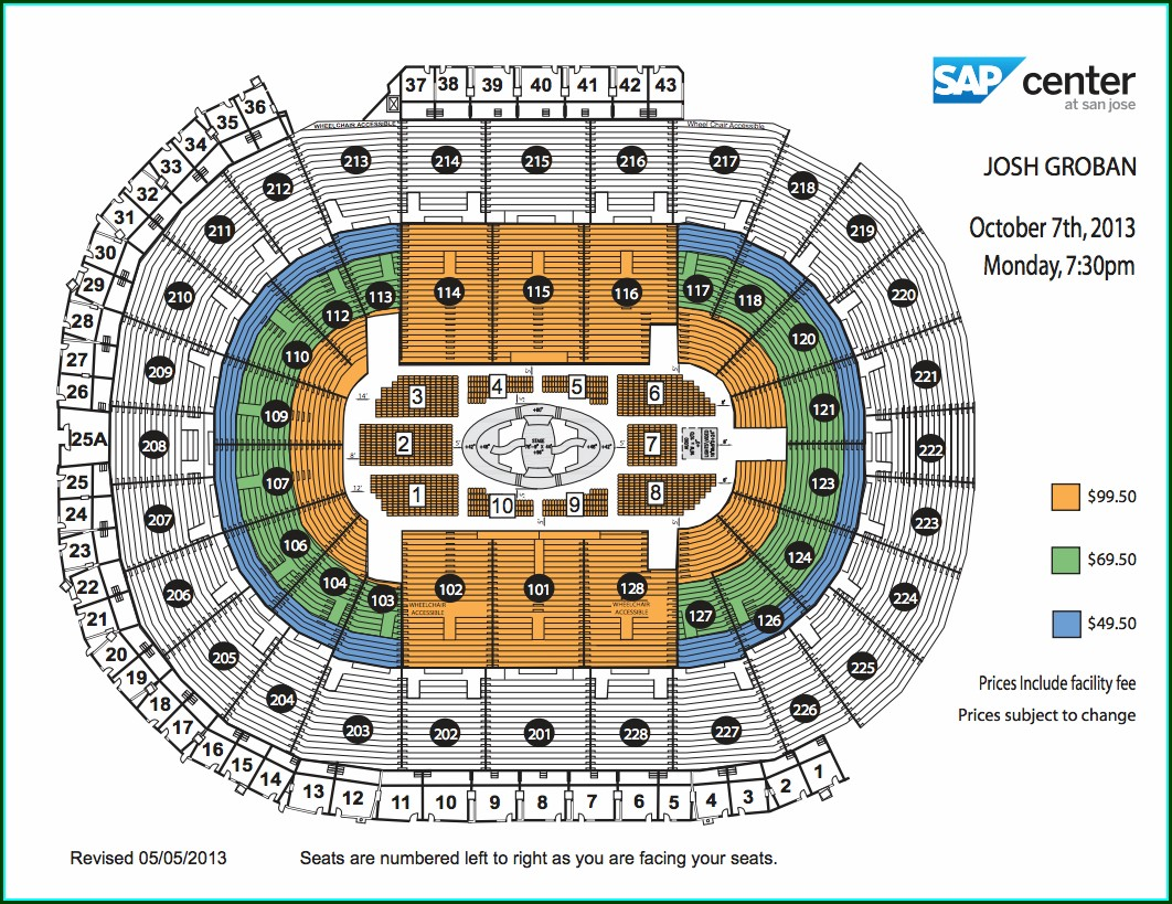 Sap Center San Jose Seating Map