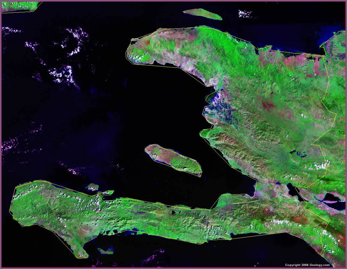 Satellite Haiti Dominican Republic Map