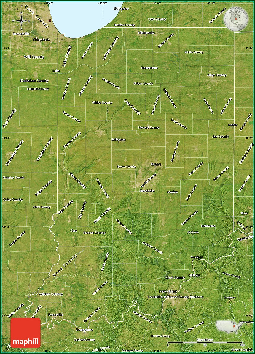 Satellite Map Of Indiana