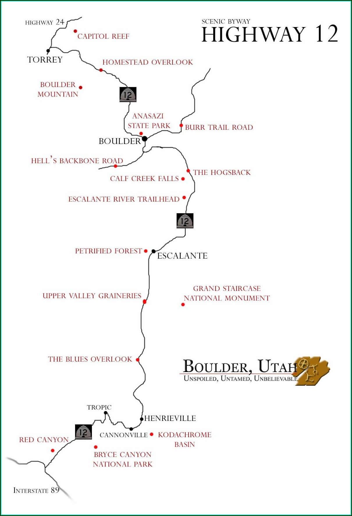Scenic Byway 12 Utah Map