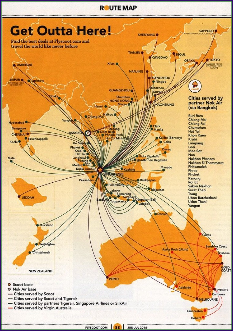 Scoot Airlines Route Map