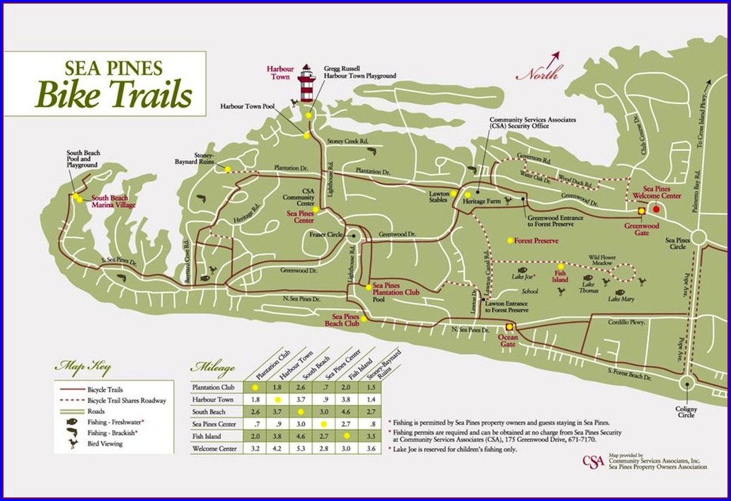 Sea Pines Bike Path Map