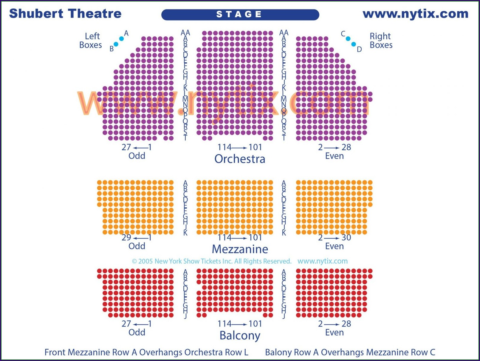 Shubert Theater Seat Map