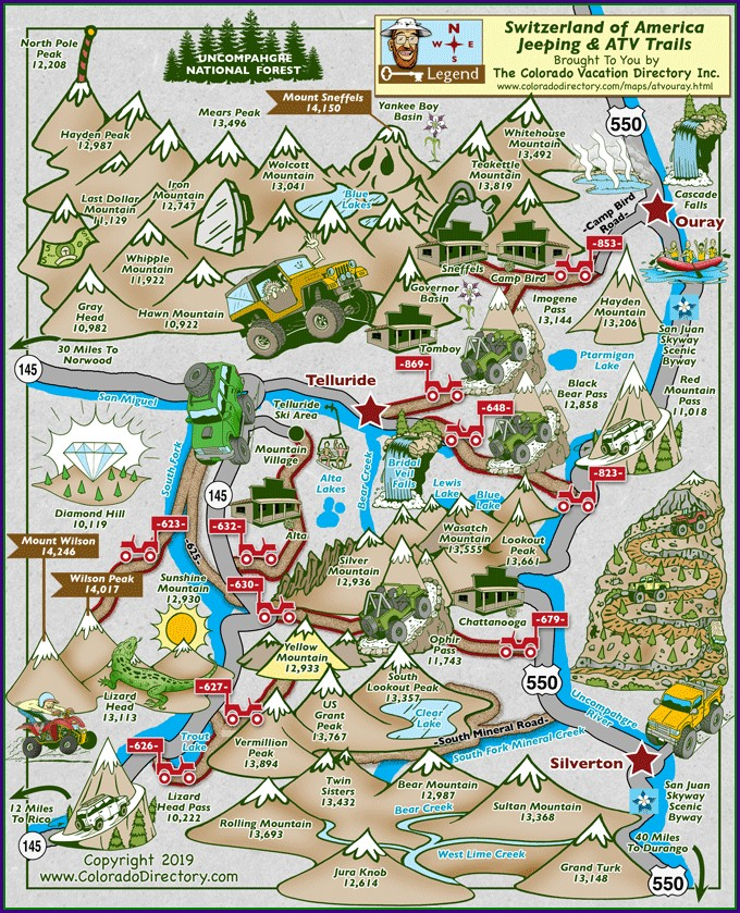 Silverton Co Jeep Trail Map
