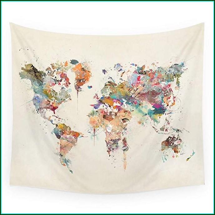 Society6 World Map Tapestry