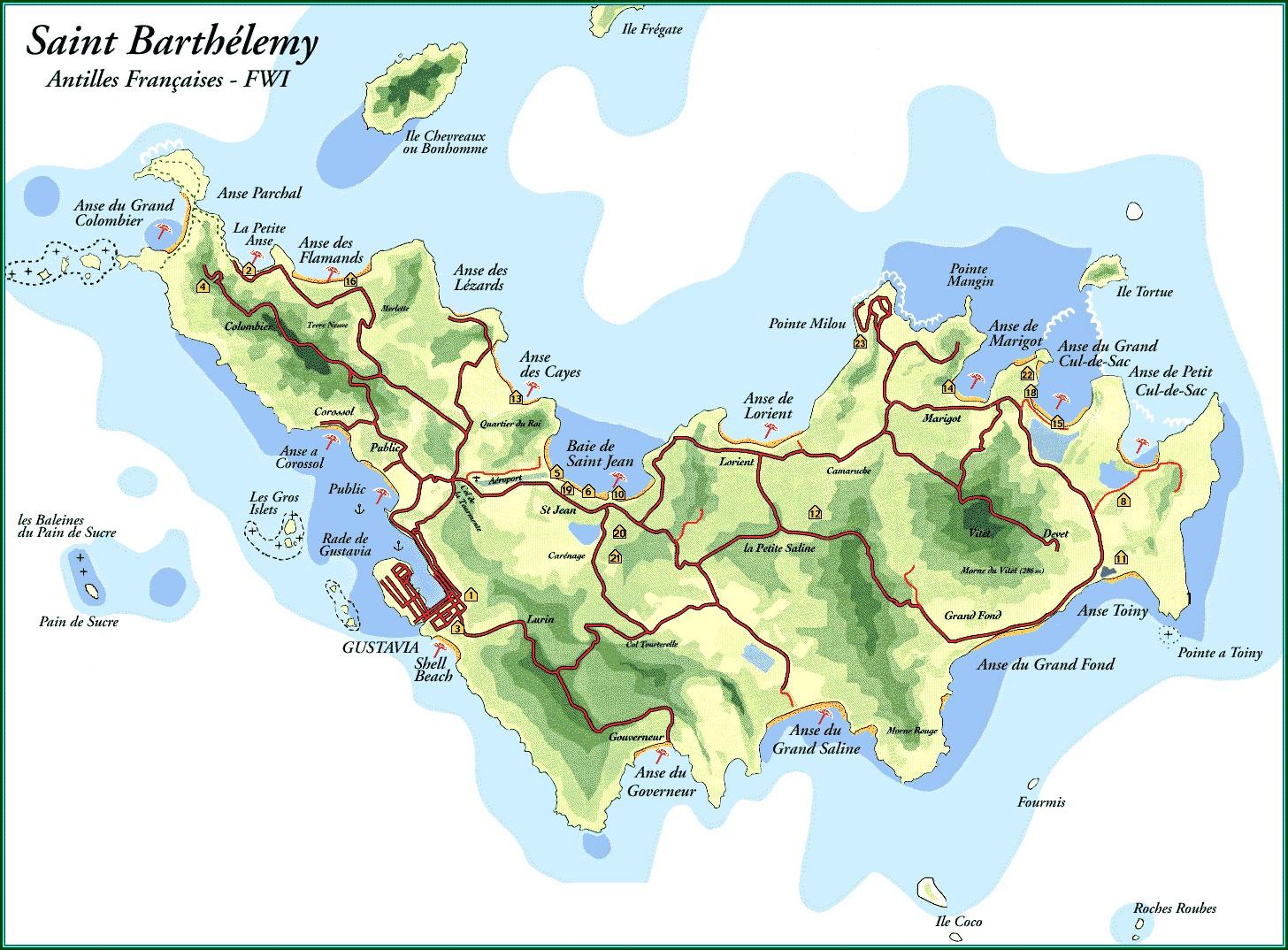 St Barts Island Map