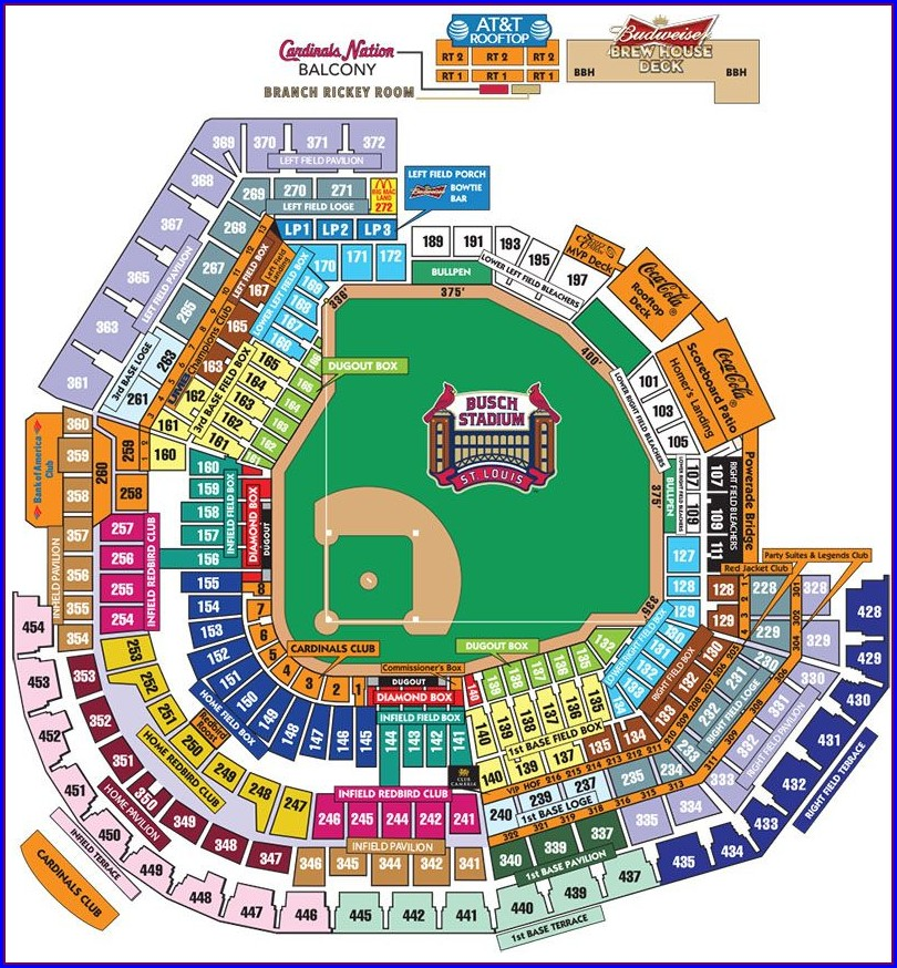 St Louis Cardinals Stadium Seating Map