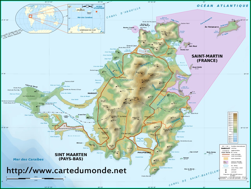 St Martin West Indies Map
