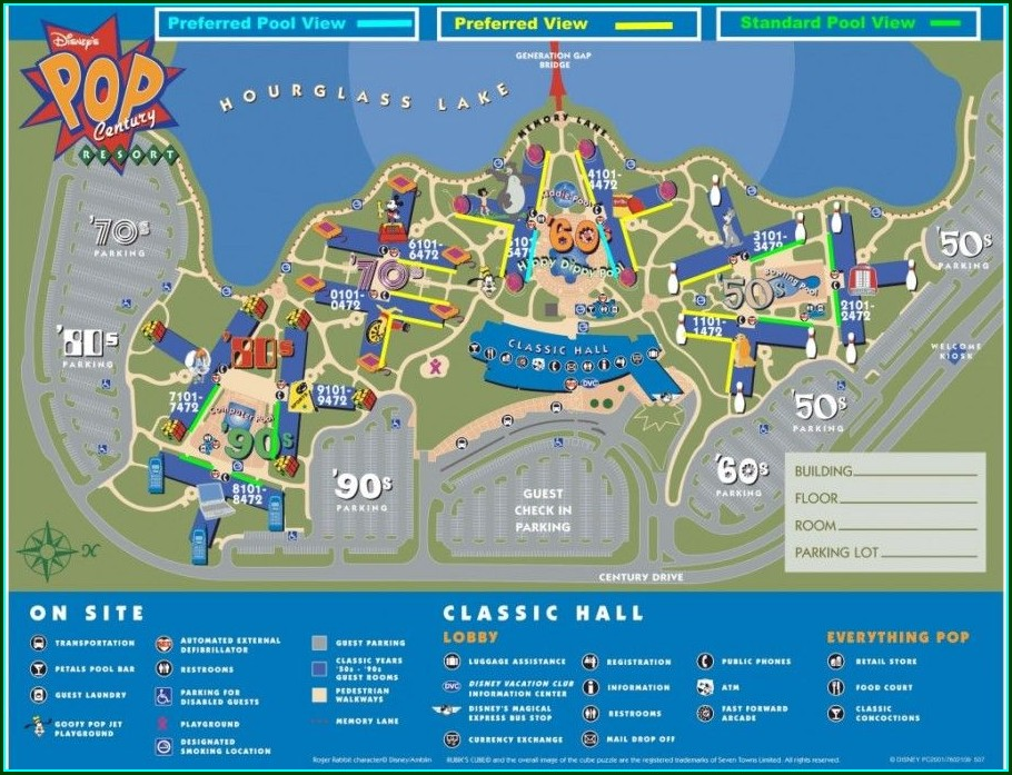 Standard Room Pop Century Resort Map