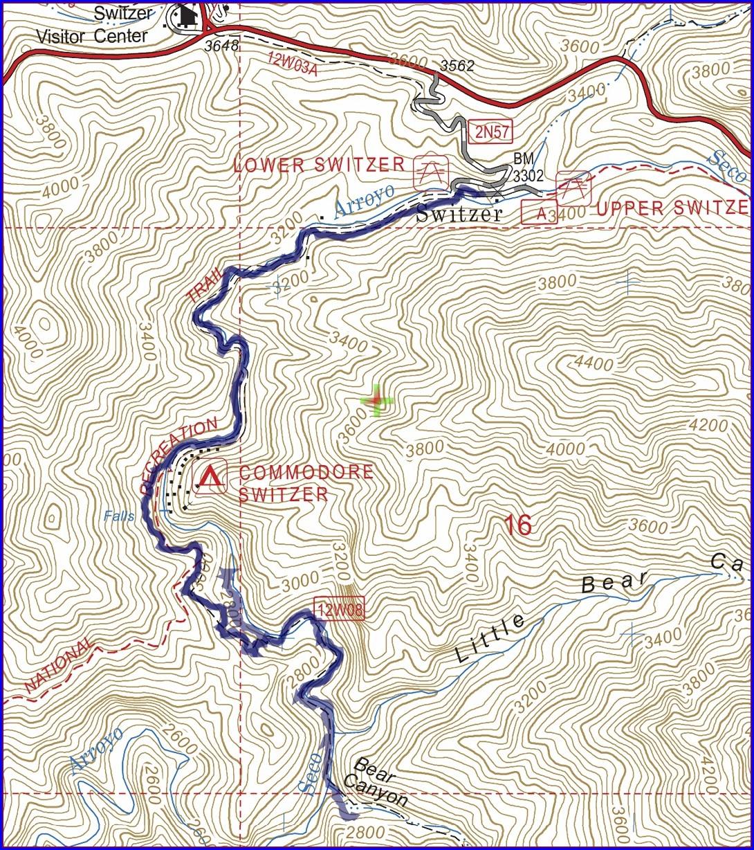Switzer Falls Trail Map
