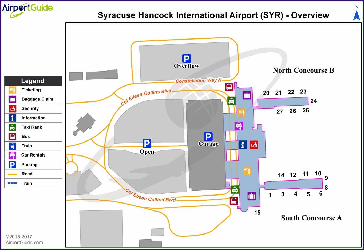 Syracuse Hancock Airport Map