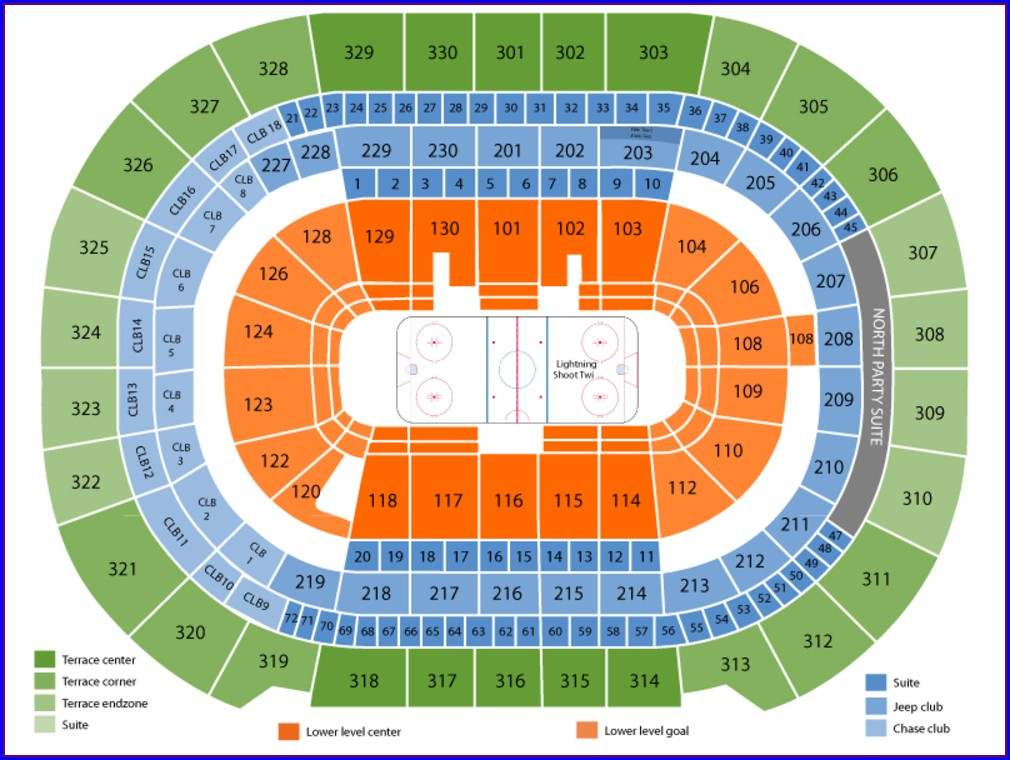Tampa Bay Lightning Seat Map