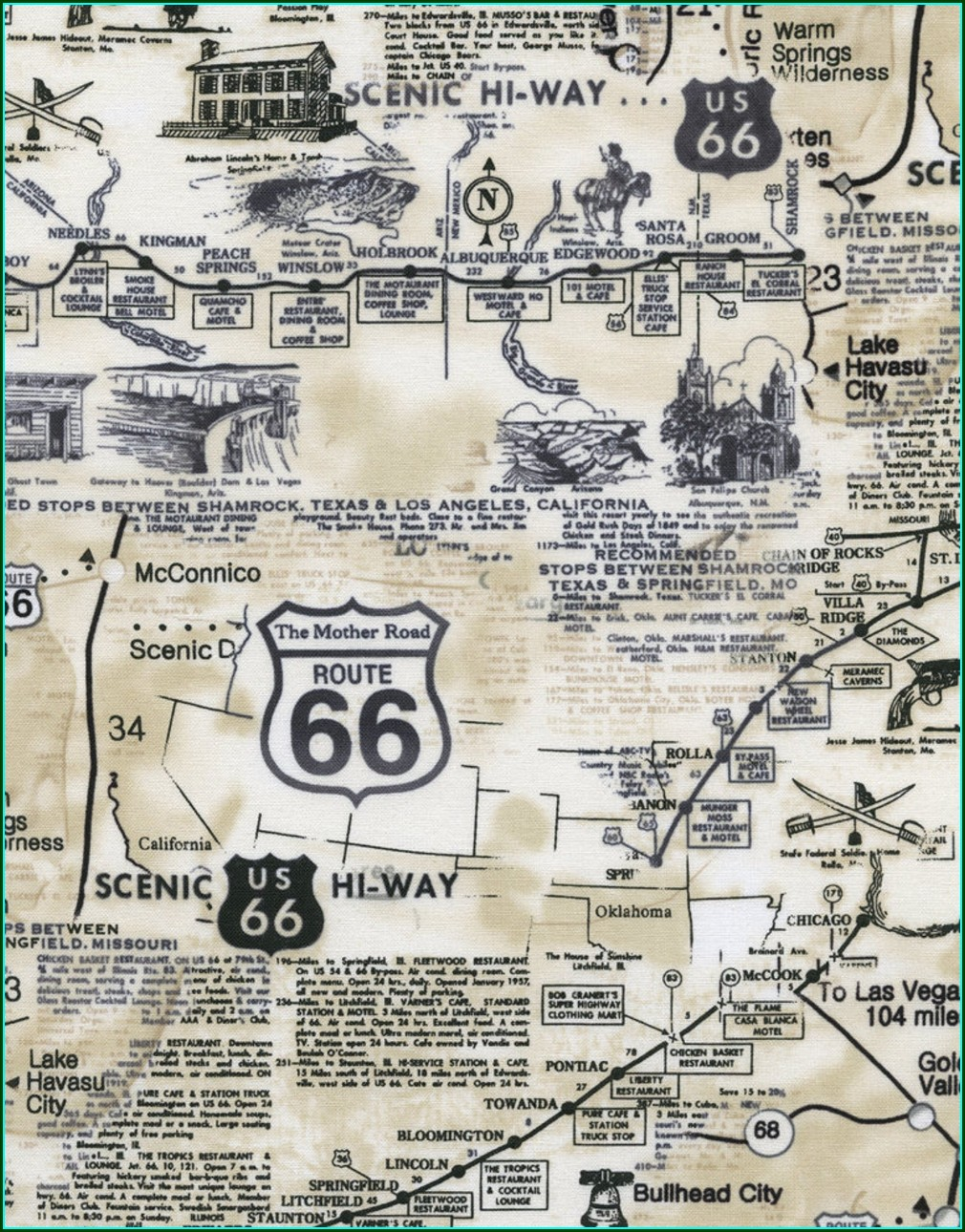 Template Free Printable Route 66 Map
