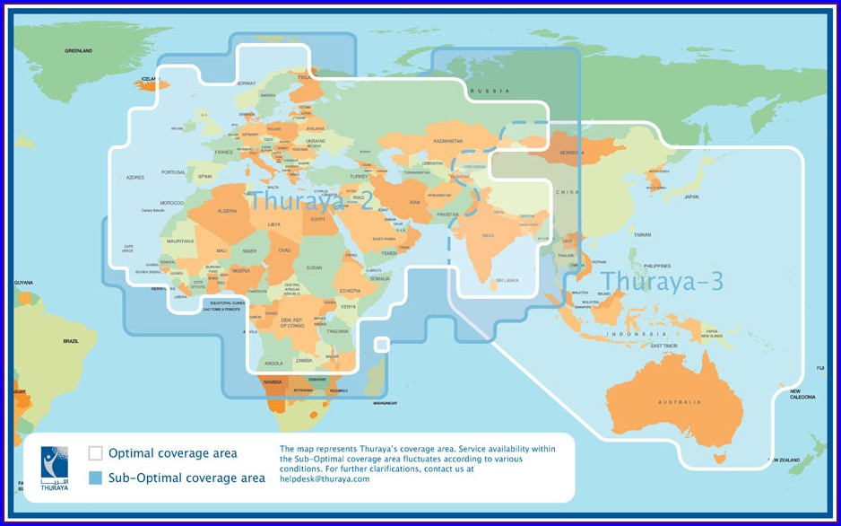 Thuraya Satsleeve Coverage Map