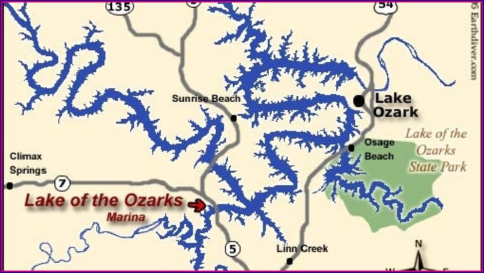 Topographic Lake Of The Ozarks Mile Marker Map