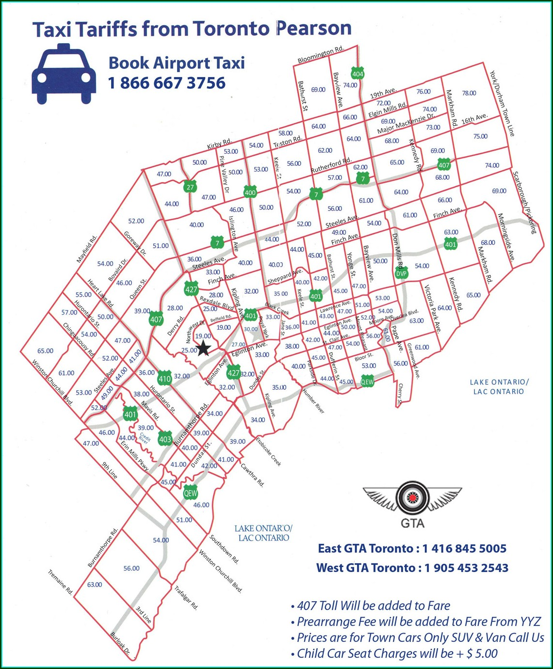 Toronto Airport Limo Rates Map