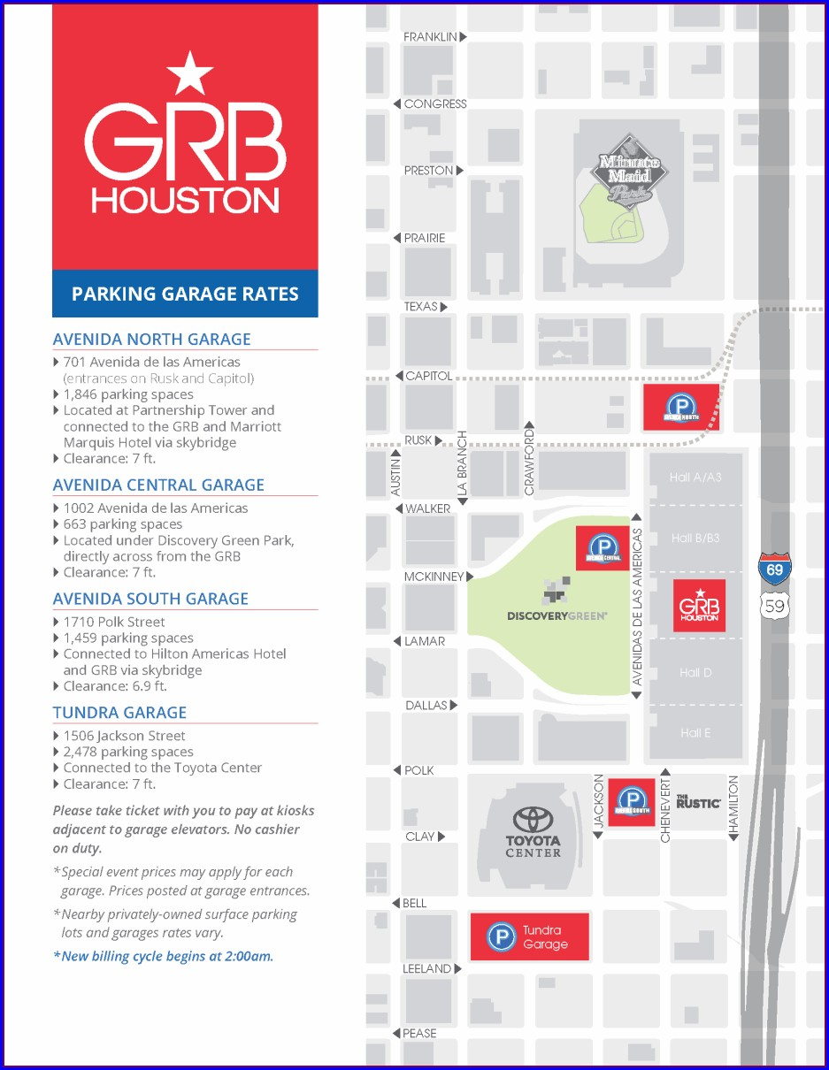 Toyota Center Parking Map Yellow Level