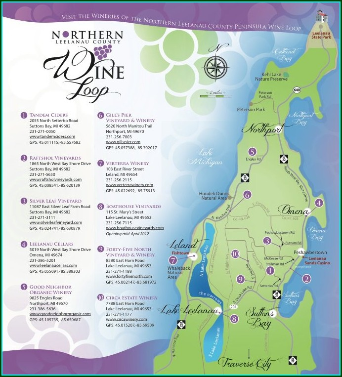Traverse City Area Wineries Map