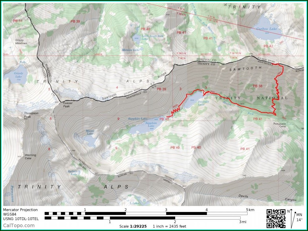 Trinity Alps Wilderness Map For Sale