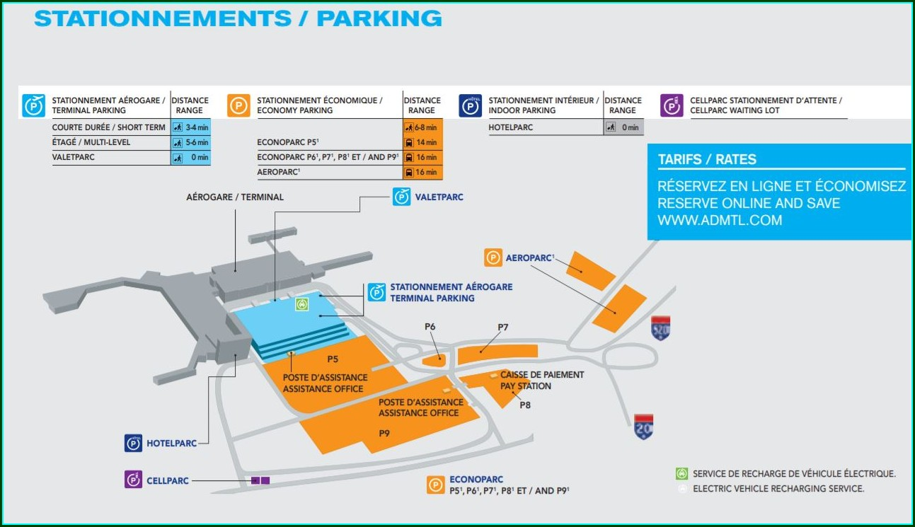 Trudeau Airport Parking Map