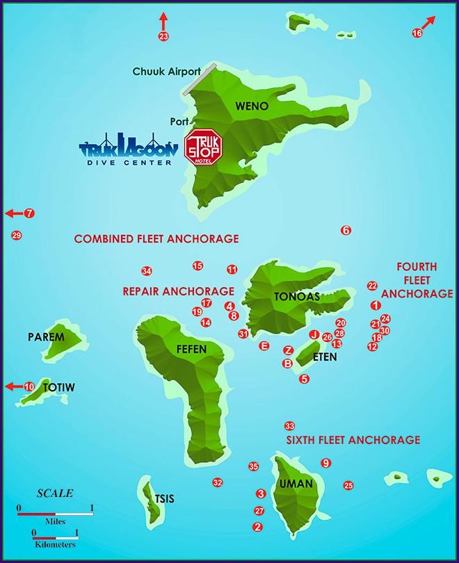 Truk Lagoon Wreck Map