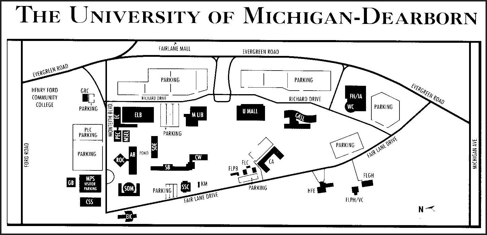 University Of Michigan Dearborn Campus Map