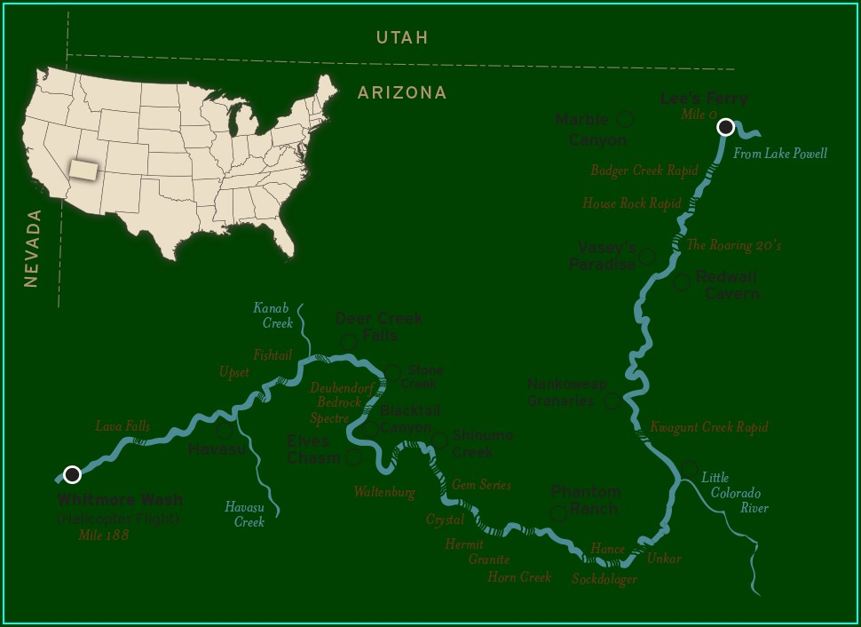 Upper Rogue River Rafting Map