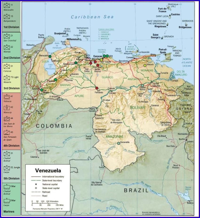 Venezuelan Military Bases Map