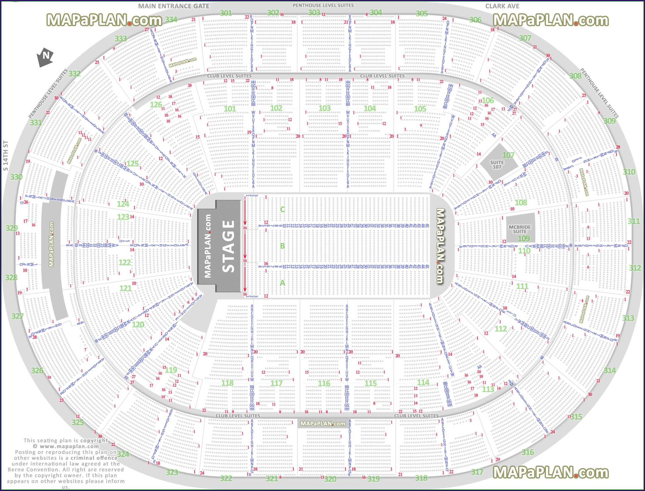 Verizon Center Map With Rows