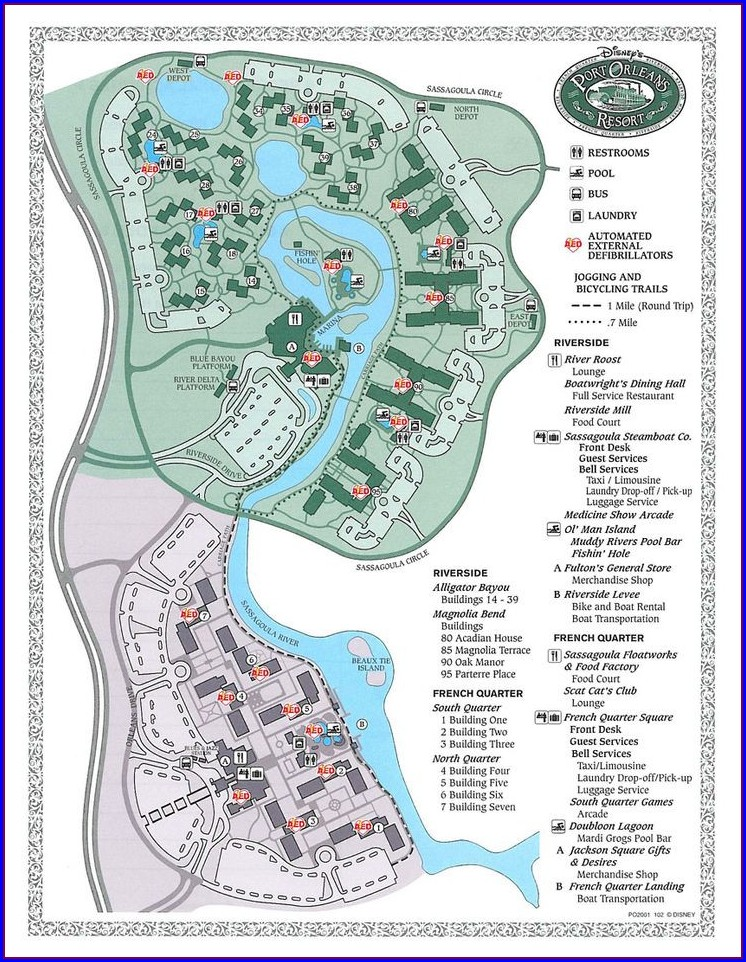 Walt Disney World Port Orleans Riverside Map