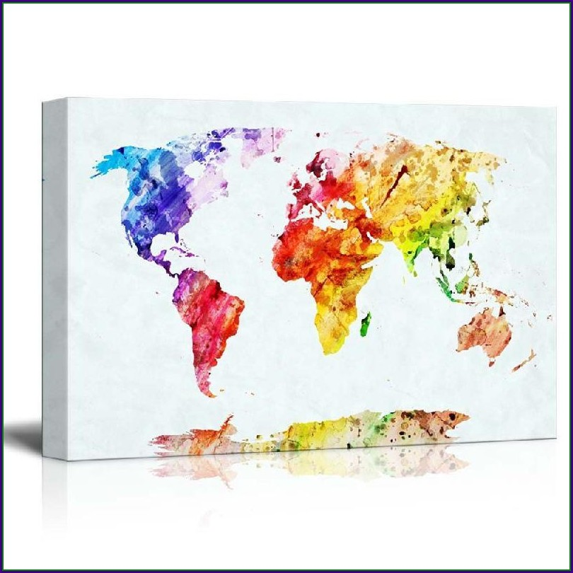 Watercolor Map Canvas Prints