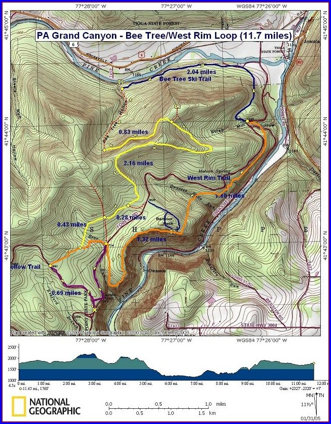 West Rim Trail Pa Map