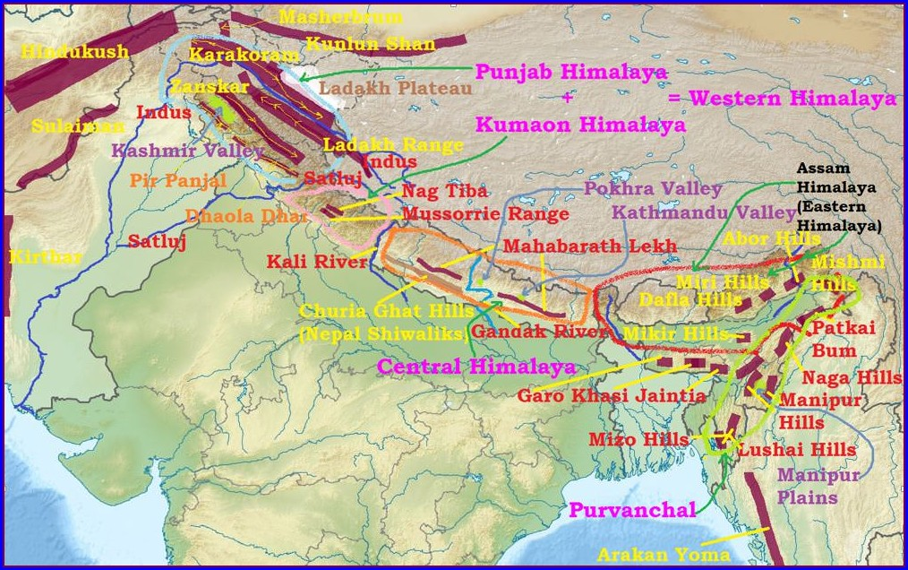 Western Himalayas Physiography Map