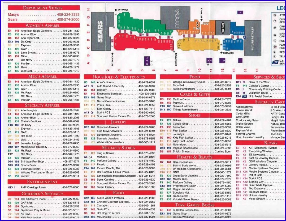 Westfield Mall San Jose Map