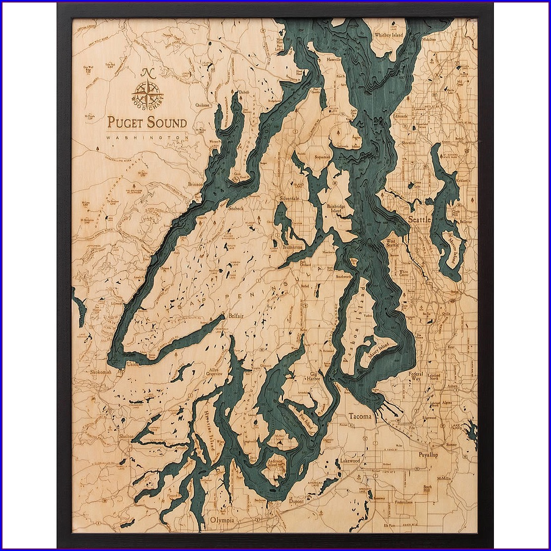 Wooden Topographic Lake Maps Artistic