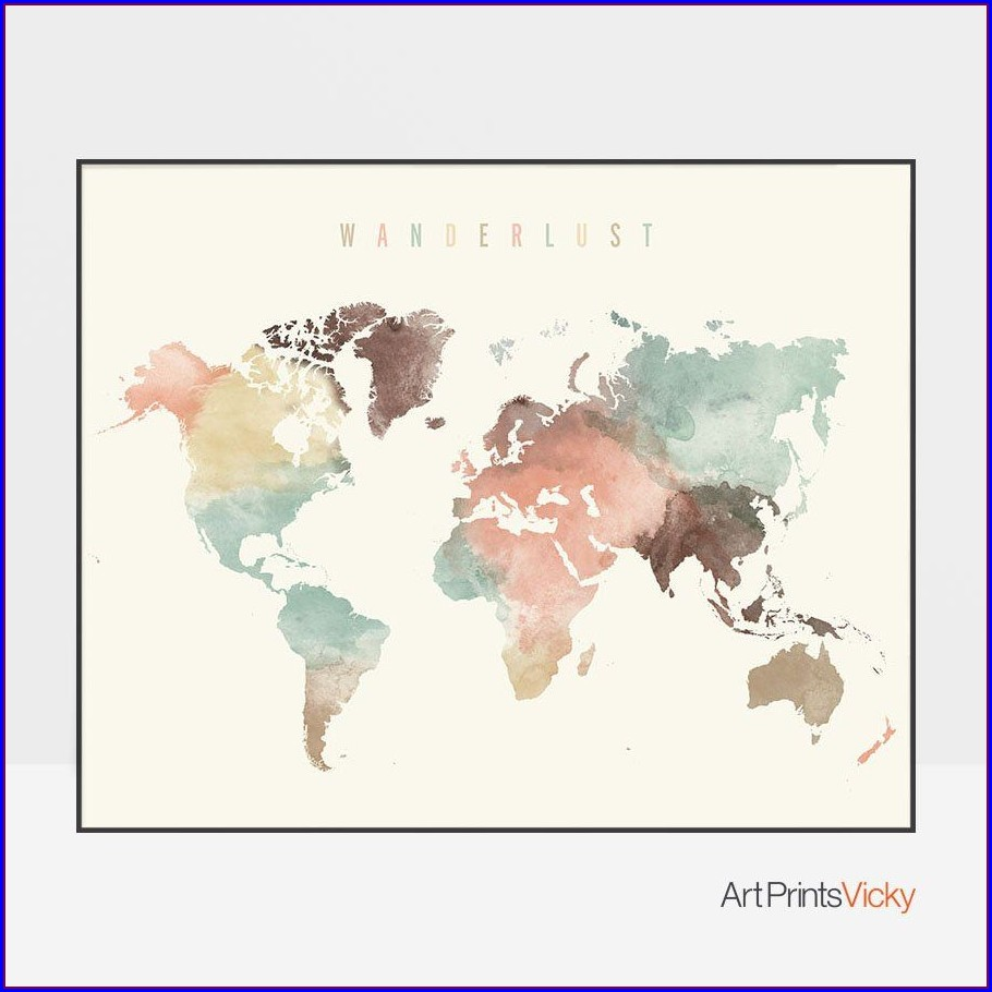 World Map Art Etsy