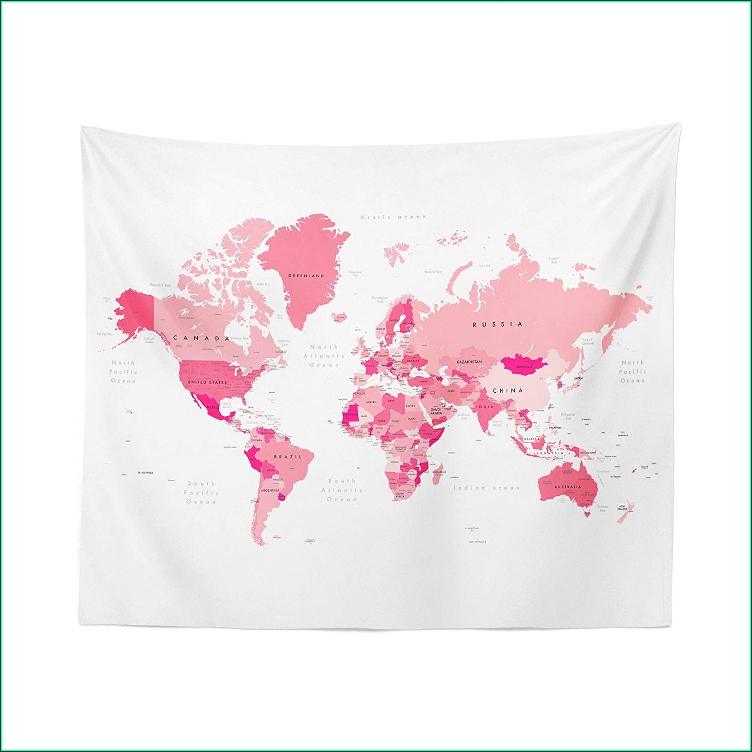 World Map Tapestry Pink